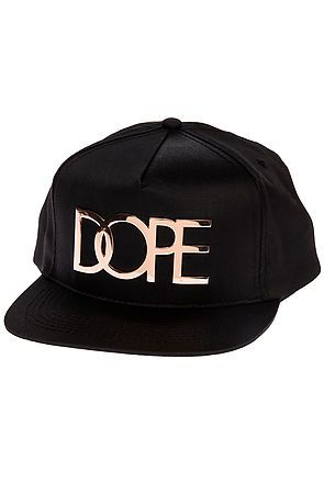 The Large Rose Gold Metal Logo Snapback in Black by DOPE