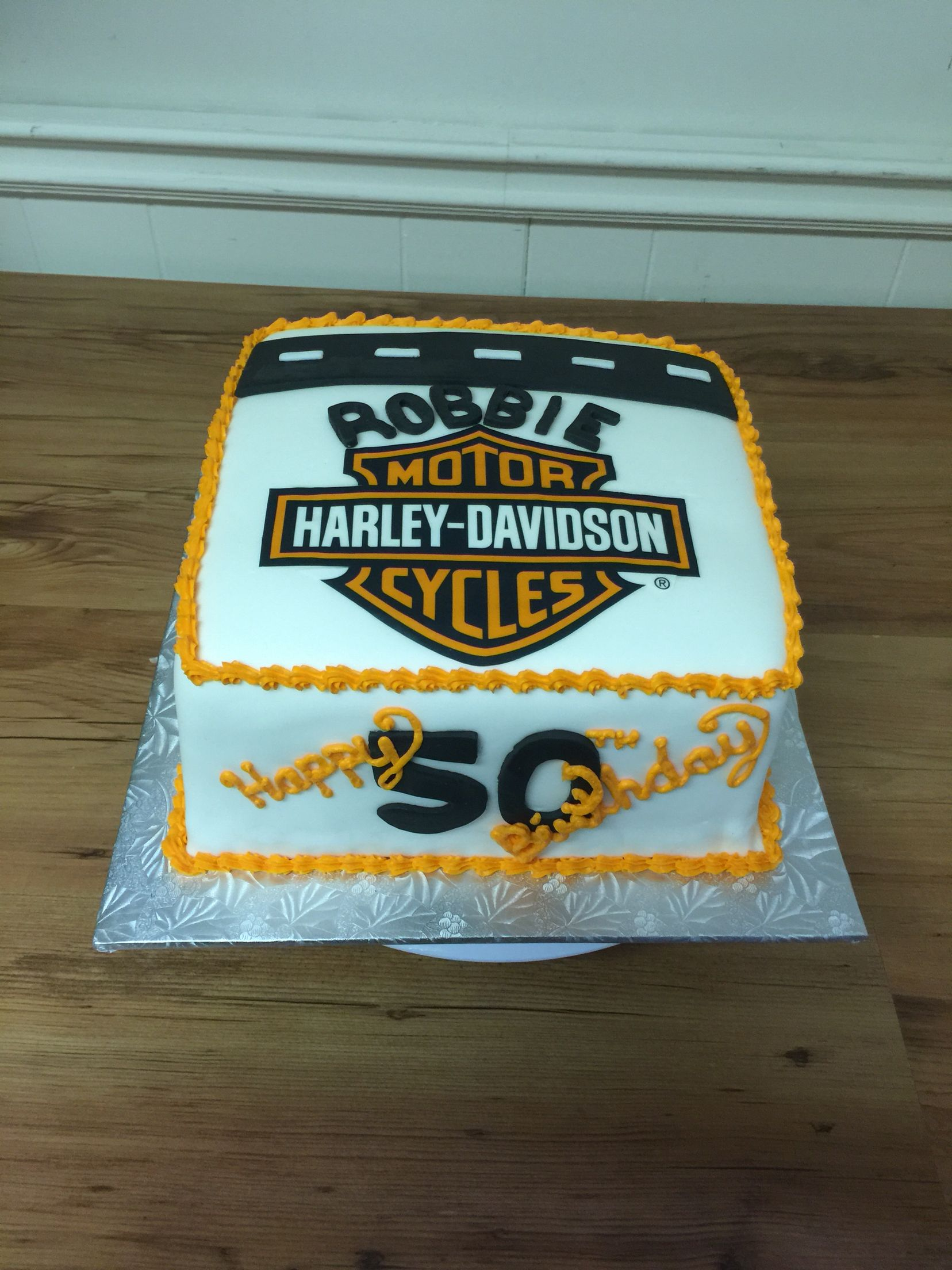 Harley Davison birthday cake Eatable print logo with chocolate cake