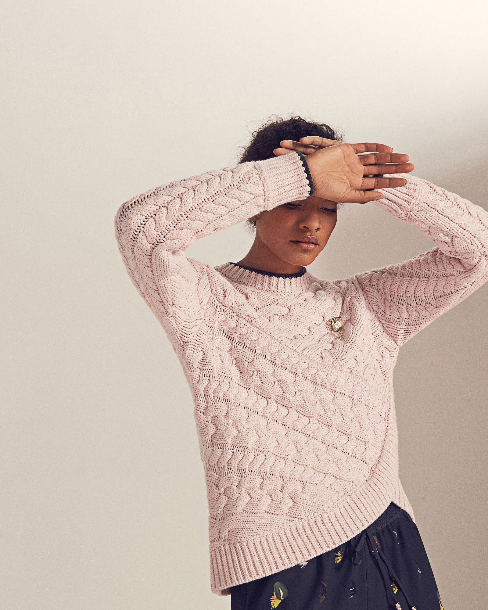 8d1cf3a844553e Asymmetric cable knit sweater - Pale Pink | Sweaters | Ted Baker ...