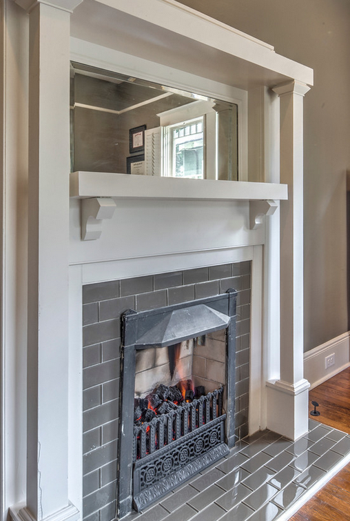 Renovated craftsman style bungalow in inman park hits the for Craftsman gas fireplace