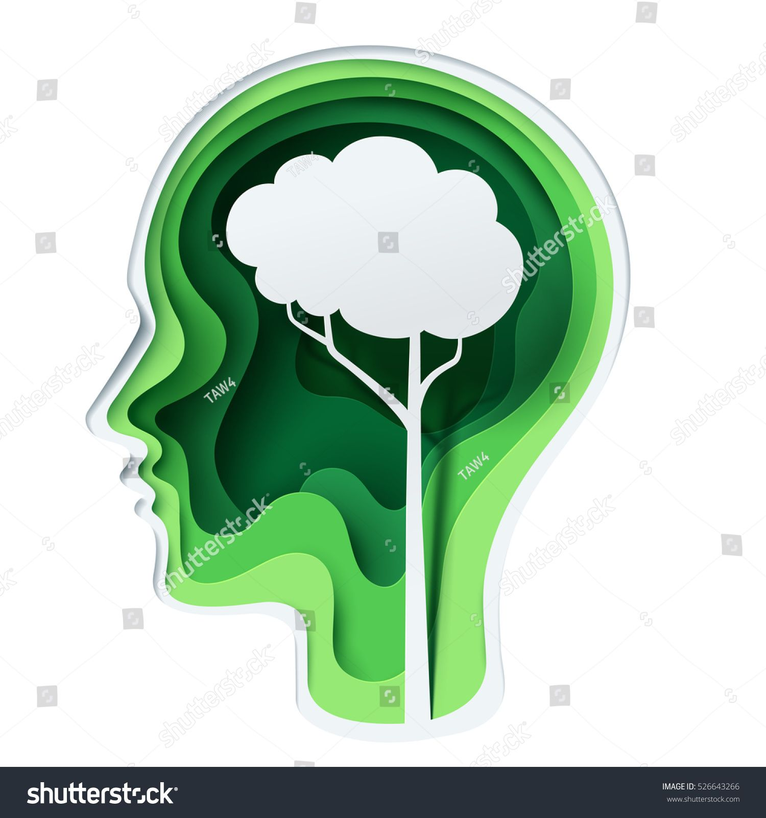 Paper Carve To Human Head And Tree Shape Look Like A Brain On Green Background