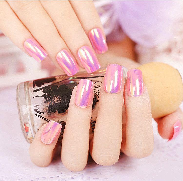 2017 fashion Manicure Pink Purple mirror nail color reflective ...