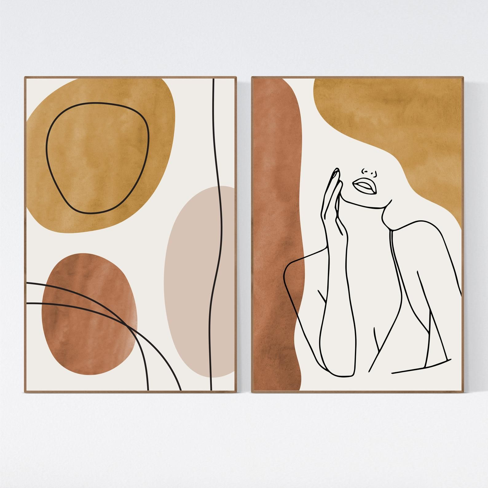 Printable Wall Art Abstract Art One Line Nude Woman Drawing Set of 2 Female Figure Print Modern Wall Gallery Minimalist Set of 2 Print