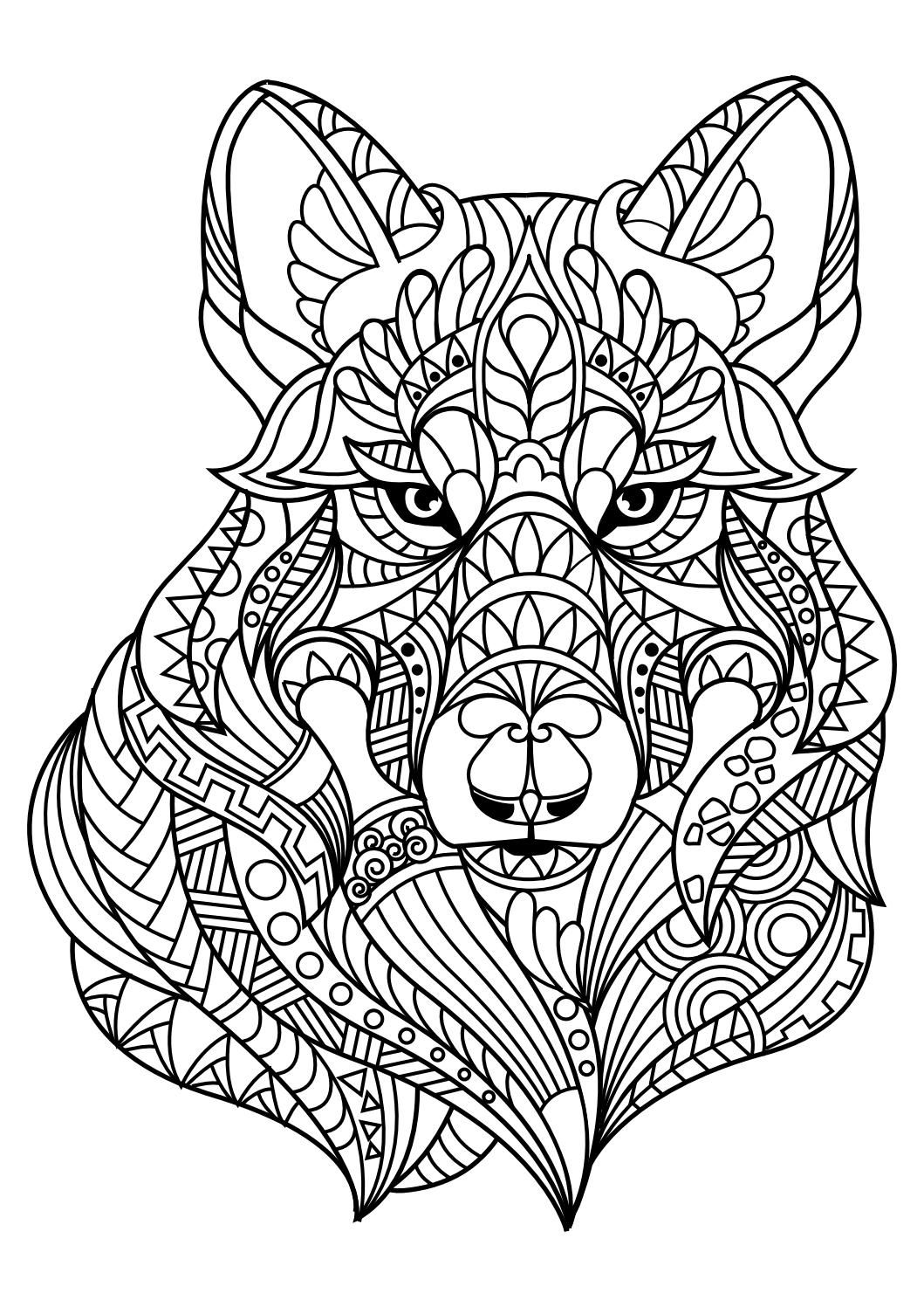 Animal coloring pages pdf | Horse coloring pages, Dog ... | free printable animal mandala coloring pages for adults