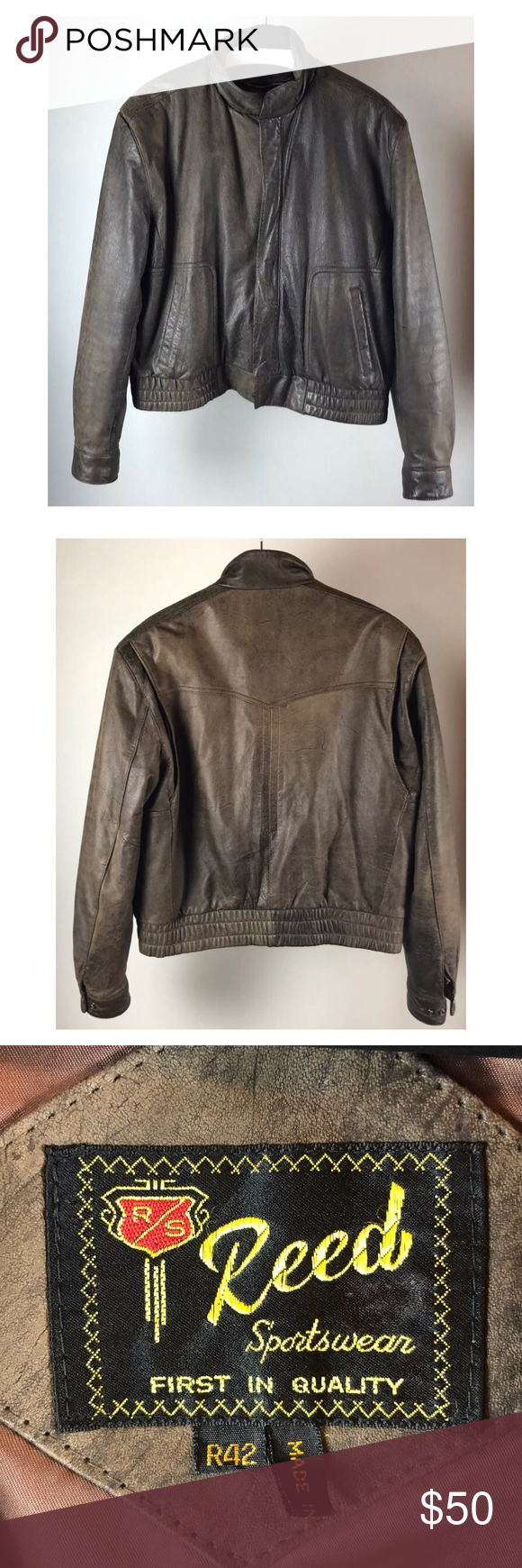 Vintage Reed Sportswear Mens Brown Leather Jacket A Really Cool Jacket With A Great Classic Look Reed Spo Brown Leather Jacket Men Jackets Men Fashion Jackets [ 1740 x 580 Pixel ]