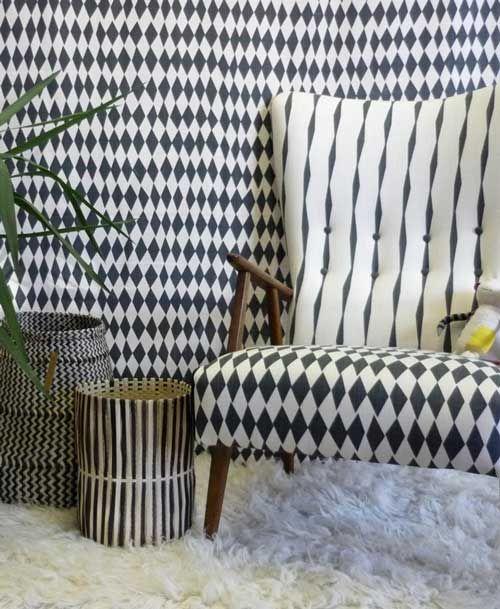 Afrika baskets pairing beautifully with Rough Cuts, Skinny laMinx's new range of Scandinavian inspired fabrics.