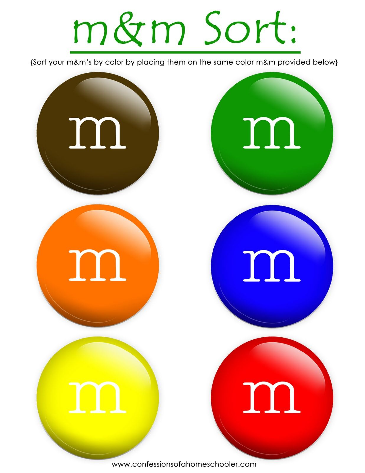 Sorting I Like This Using Print Outs Of M And Ms Instead