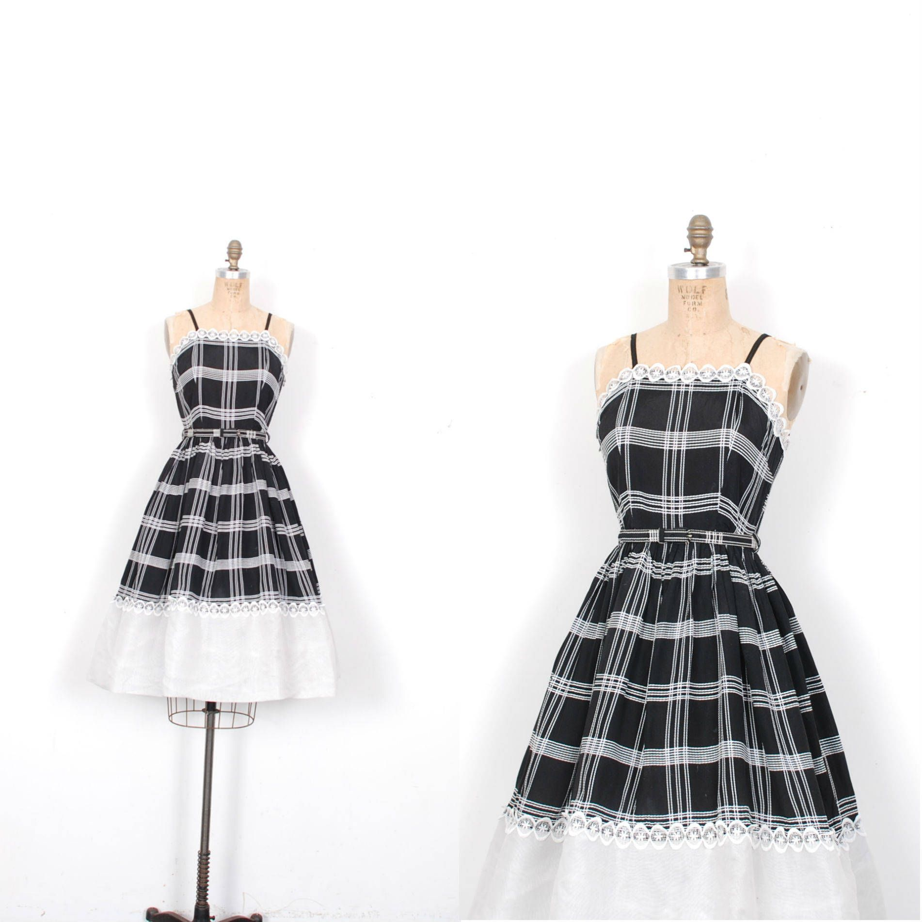 Vintage s dress s windowpane plaid sundress black and