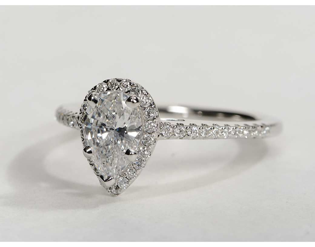 pear shaped halo engagement rings pear shaped engagement