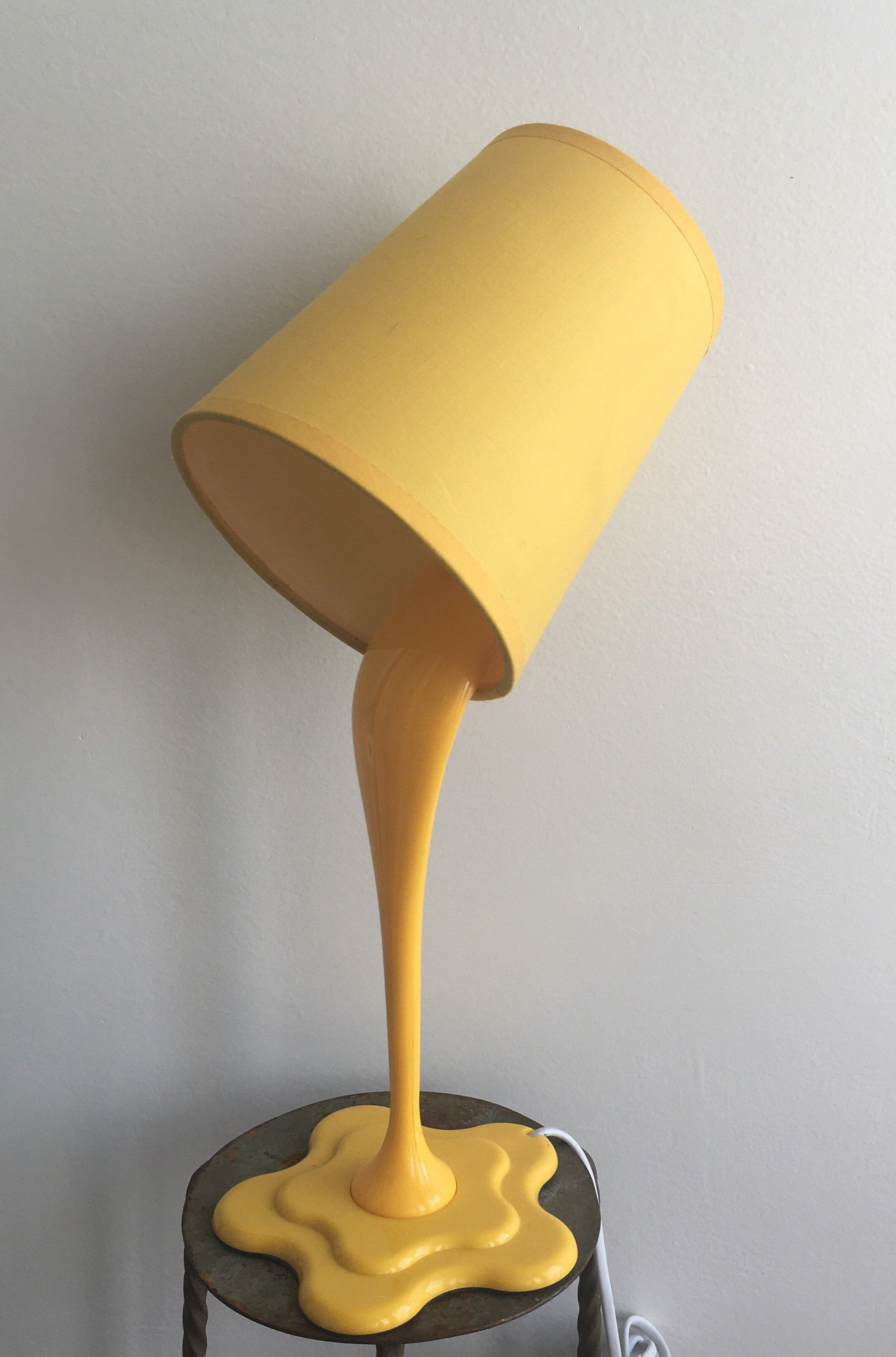 yellow 80s design table lamp, vintage table lamp, retro