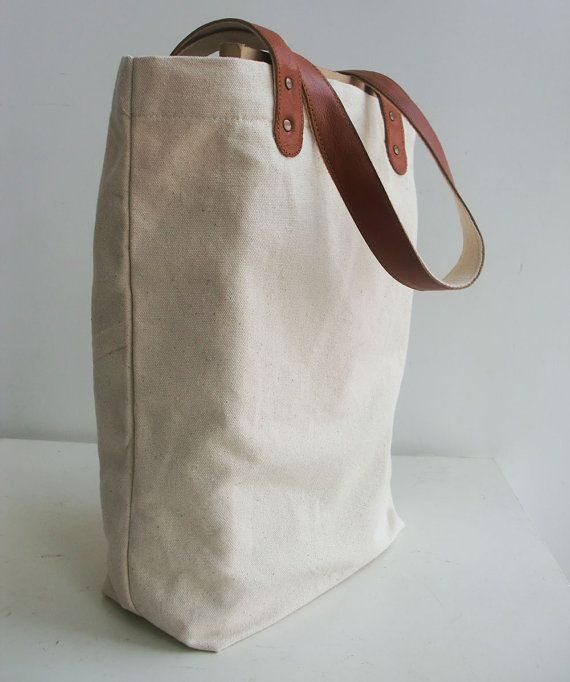 f768df6cba Blank Original Canvas Tote Bag Genuine Leather Handles-12.5x13.6x4.5inch  -32x35x11.5cm