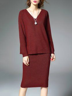Casual Knitted Long Sleeve Two Piece Midi Dress