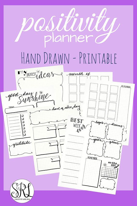 positivity planner pages  hand drawn bullet journal