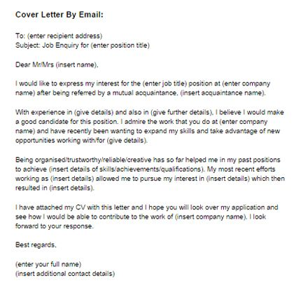 Email Covering Letter  Health And Fitness    Template