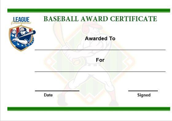 Baseball Award Certificate Template Word | Baseball Certificate