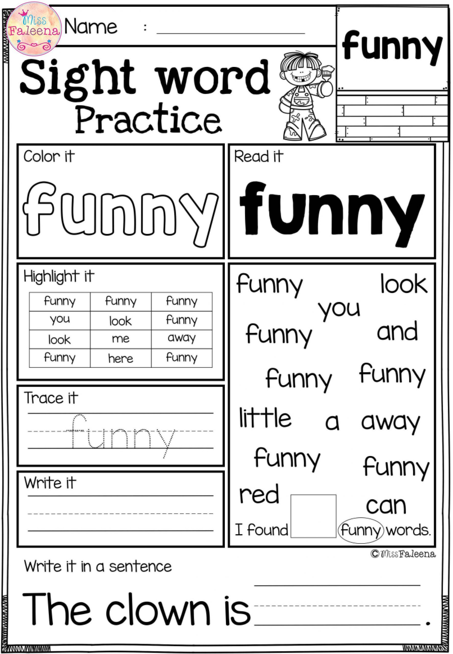 Sight Words Worksheets For Kindergarten Sight Word Worksheets Word Practice Sight Word Practice