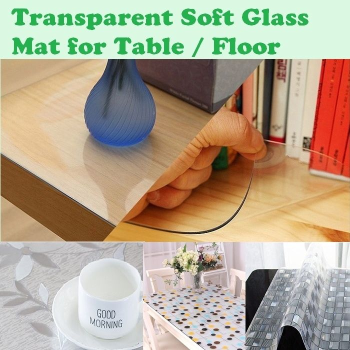 transparent pvc mat soft tampered glass tempered mat for table