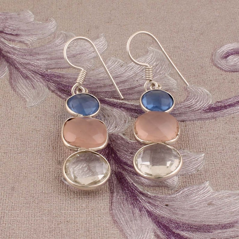 Iolite+Pearl Top Quality Gemstone Earring Handcrafted Boho Earring,Sterling Silver Earring,Antique Silver Earring Etsy Cyber Valentine/'s Day