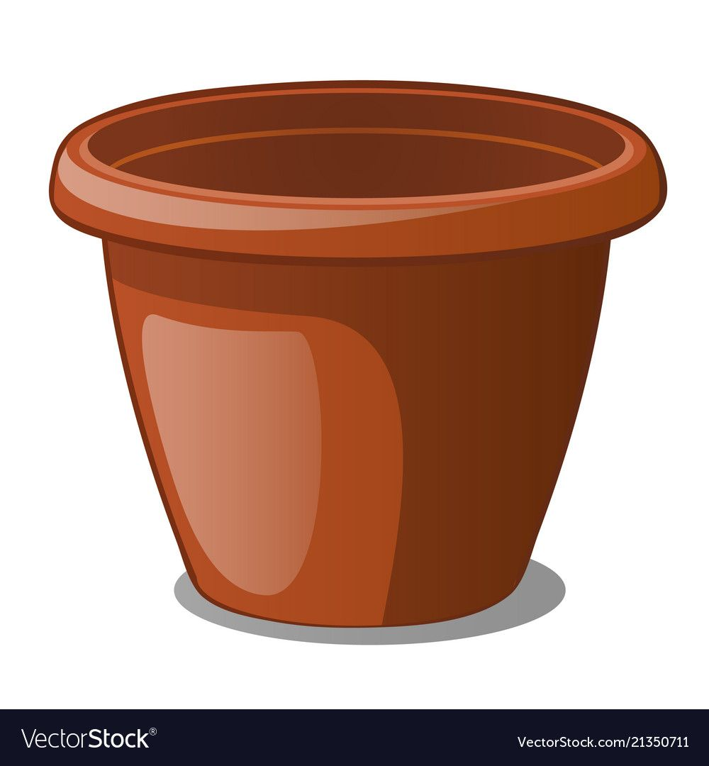 Flower Pot Brown Color Isolated On A White Vector Image On Vectorstock In 2020 Flower Pots Clip Art Borders Vector Images