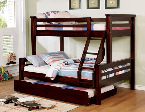 Shop The Furniture Of America Mia Twin Over Full Bunk Bed In Dark Walnut With Optional Trundle Bed Affordabl Twin Full Bunk Bed Bunk Beds Solid Wood Bunk Beds Solid wood bunk beds twin over full