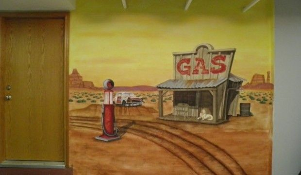 An old time gas station mural in a garage that I did