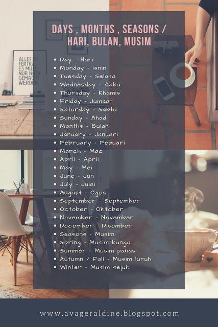 Malay Bahasa Melayu Malaysia Language Day Month Season Hari Bulan Musim Malay Language Teaching English Grammar English Vocabulary Words
