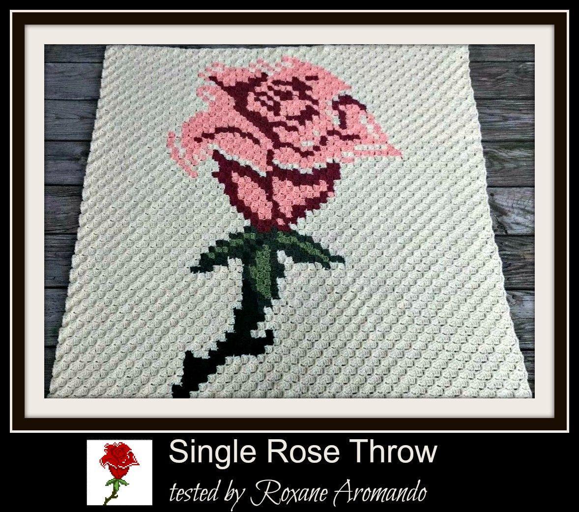 C2C Graph, Single Rose Throw, C2C Graph, & Written Word Chart, Rose ...