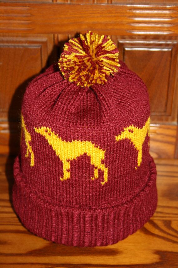 Greyhound Pattern Hand Made Knitted Bobble Hat by ...