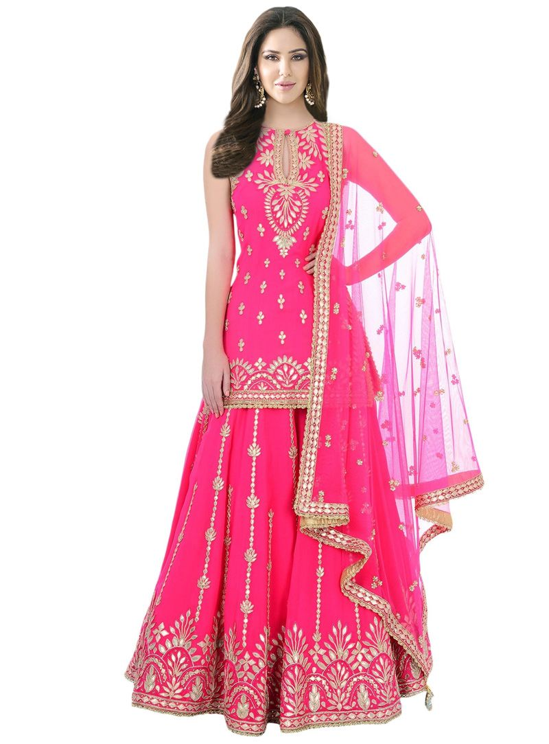 3c2140b3a1 Buy Pink Silk Readymade Sharara Style Salwar Suit 114391 online at lowest  price from vast collection at m.indianclothstore.c.