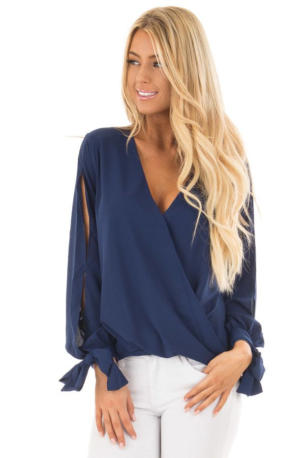3d0093fae09 Lime Lush Boutique - Navy Surplice Blouse with Tie Sleeve Details
