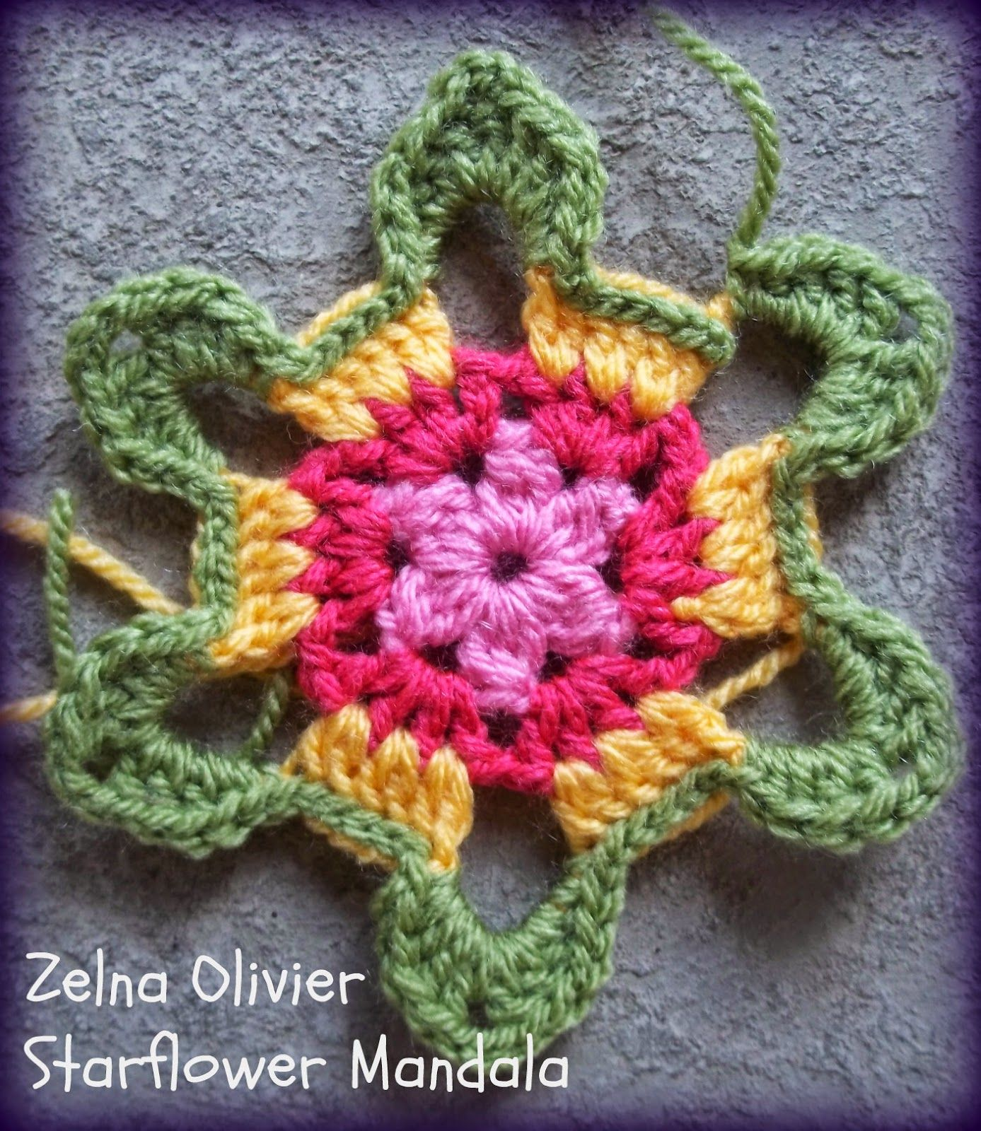 and here is the crochet pattern for the Starflower Mandala