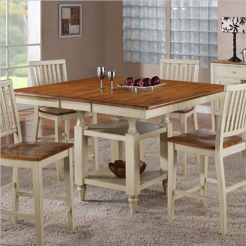 Steve Silver Company Candice Counter Dining Table With Butterfly Leaf In  Oak And White Steve Silver