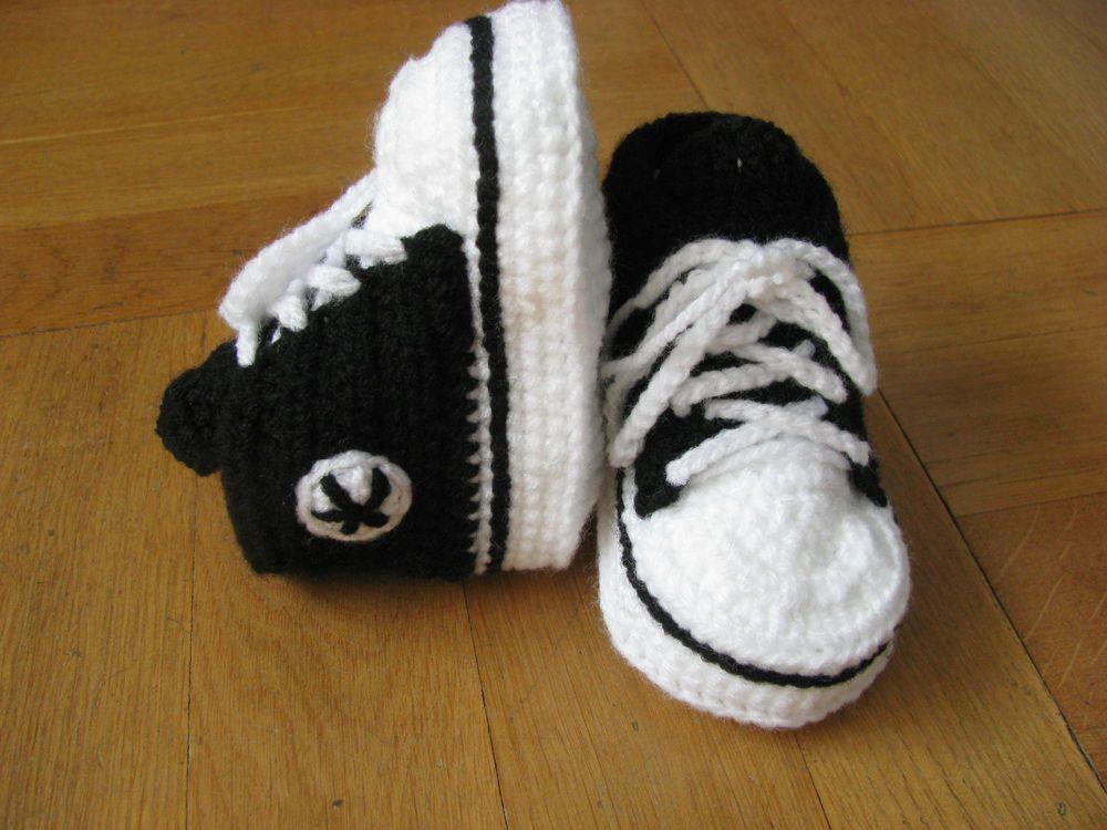 Details Zu Babyschuhe Babychucks Turnschuhe Schwarz Gehäkelt
