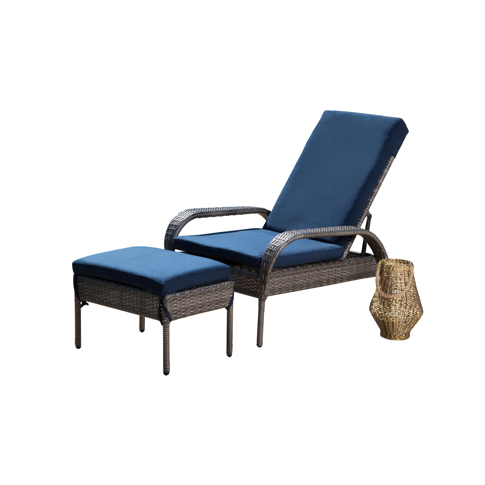 Devon & Claire Della Outdoor Wicker Patio Chaise and