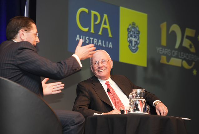 Neil Armstrong shares a story with CPA Australia CEO Alex Malley