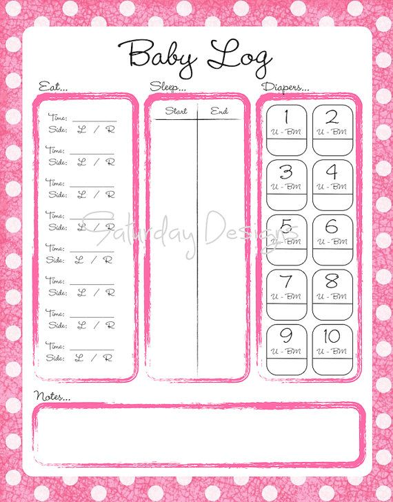 Printable Daily Log for Baby, pink dots - feeding, diaper, nap chart