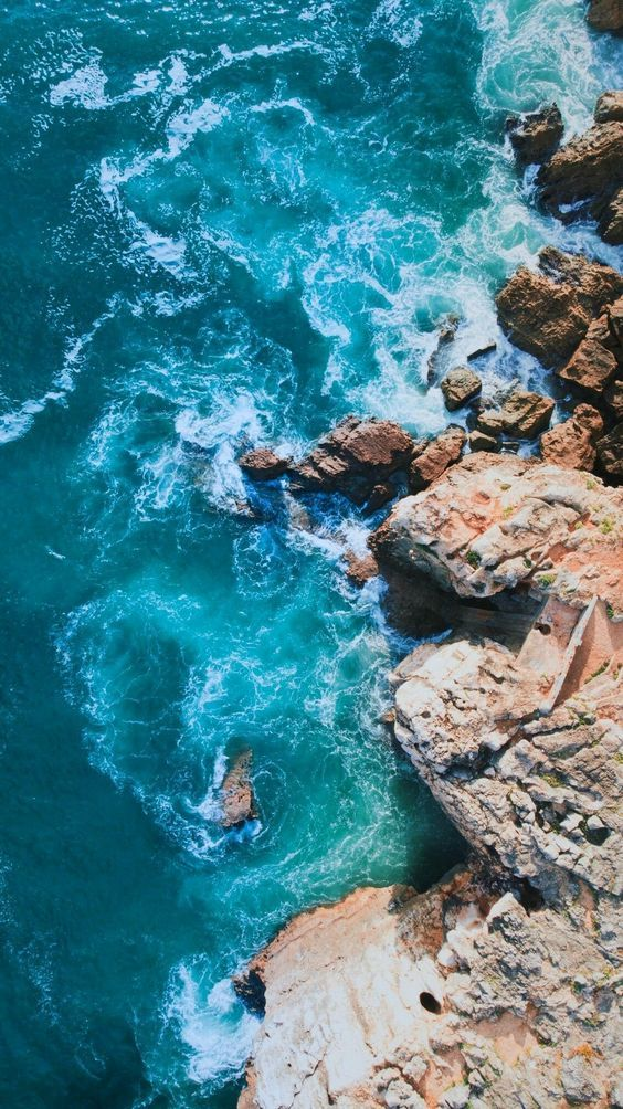 The Sea Against The Rocks Blue Wallpaper Iphone Nature Photography Iphone Background Wallpaper Awesome ocean wallpaper for iphone x