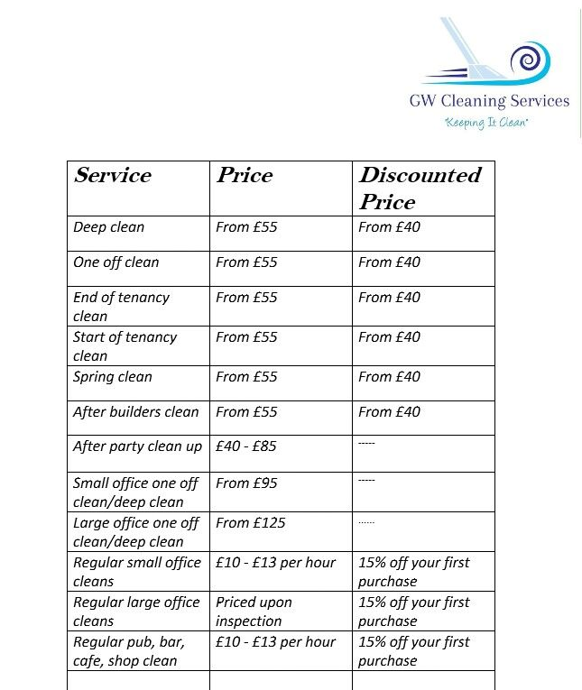 Our Price List With Dicounts Domesticcleaning Commercialcleaning Clean Cleaning Business