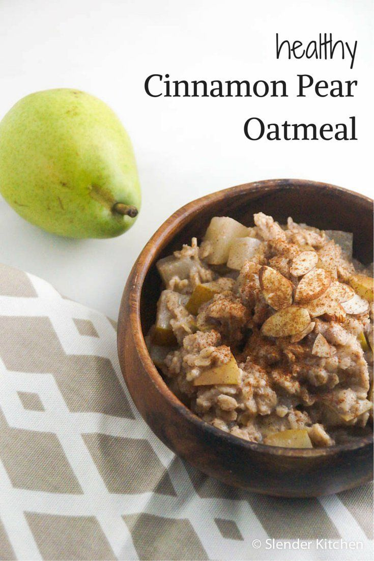 Cinnamon Pear Oatmeal #healthyrecipes #slenderkitchen #breakfast #kidfriendly #quickandeasy