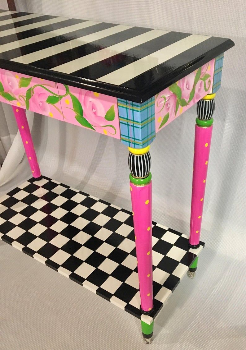 Whimsical Painted Furniture, Painted Console Table, Whimsical Painted Table, Black and white checkered Tablepainted furniture hand painted - Whimsical Painted Furniture, Painted Console Table, Whimsical Painted Table, Black and white checker - #Black #checkered #Console #Designtable #Europeanhomedecor #furniture #Hand #Painted #Romanticcottage #Shabbychicbedrooms #Shabbychicdecor #Shabbychicdining #Shabbychickitchen #Shabbychicpink #Shabbycottage #Shabbyfrenchchic #Shabbyvintage #Table #Tablepa