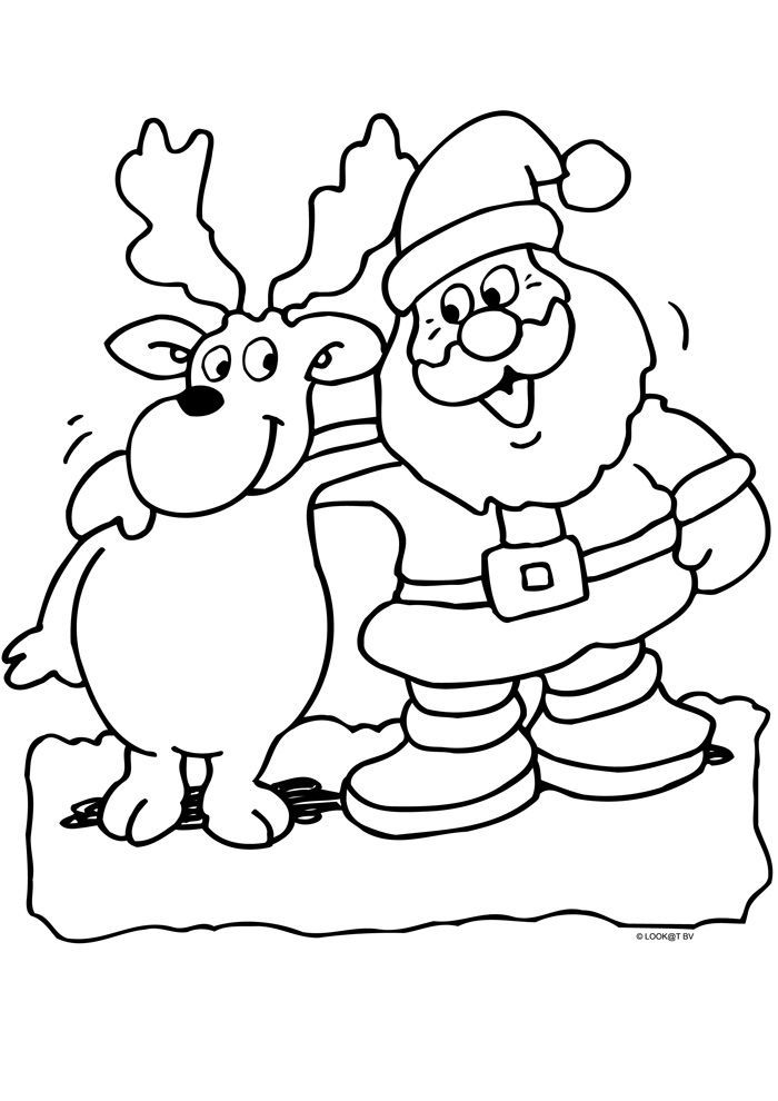 weihnachtsmann mit rentier  christmas coloring pages