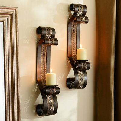 Pierced Metal Aladdin Sconce, Set of 2   Candle sconces ... on Vintage Wall Sconce Candle Holder Decorating Ideas id=67283