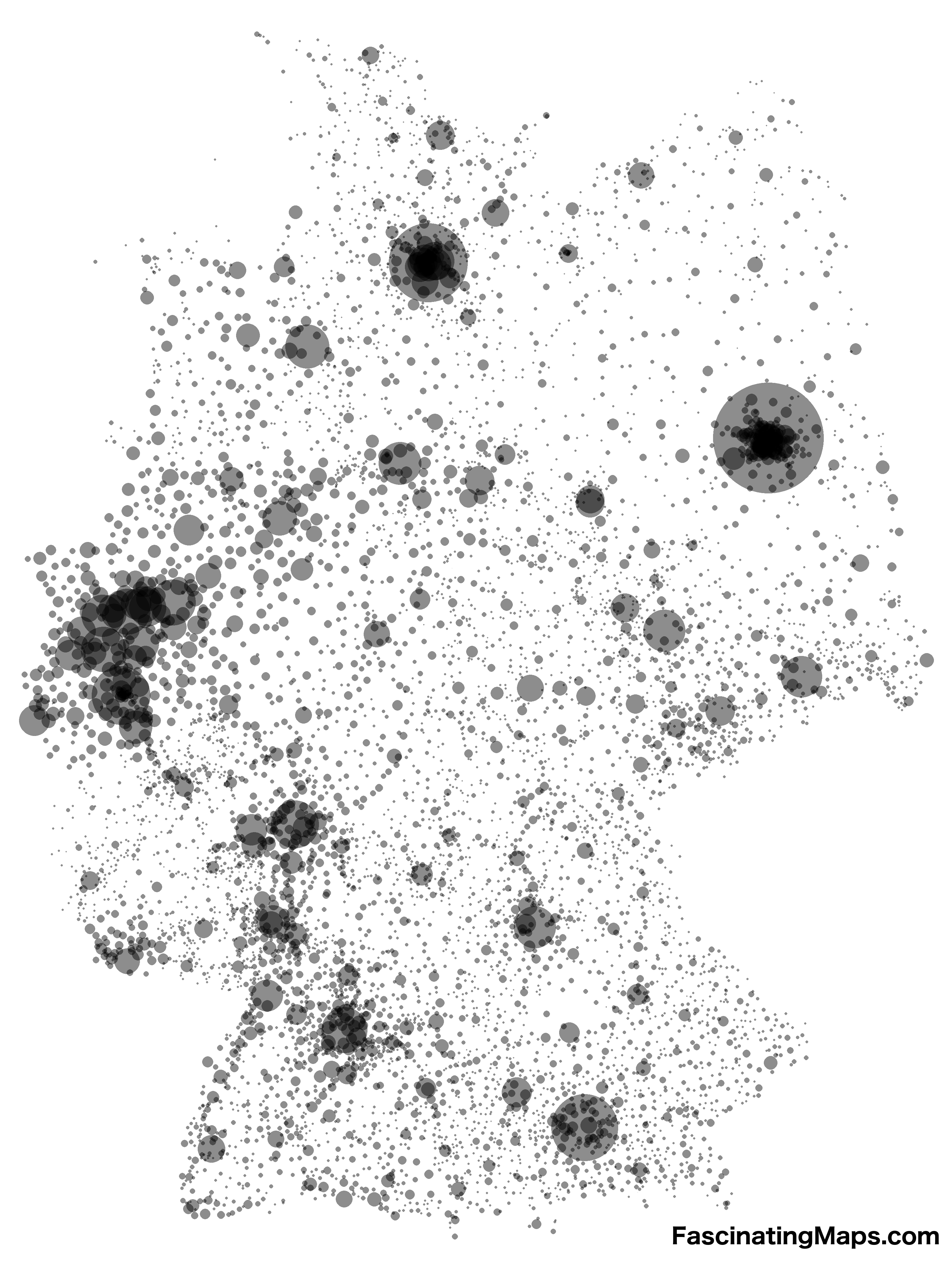 Every Place In Germany With Over 1000 Inhabitants Without Borders