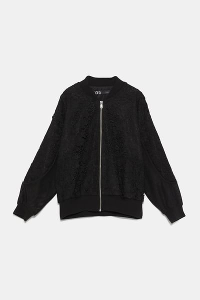 2ad789303 Contrast bomber jacket in 2019 | Products | Black bomber jacket ...