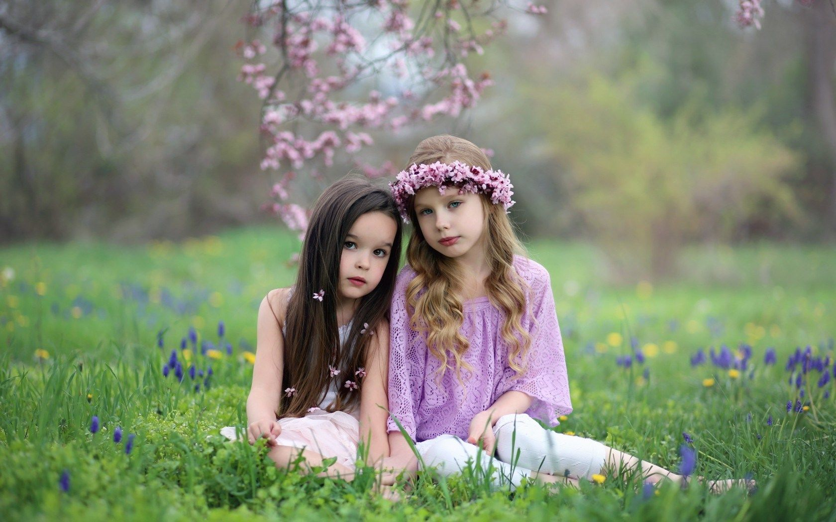 cute, twins, little girls, spring, photo, grass, nature