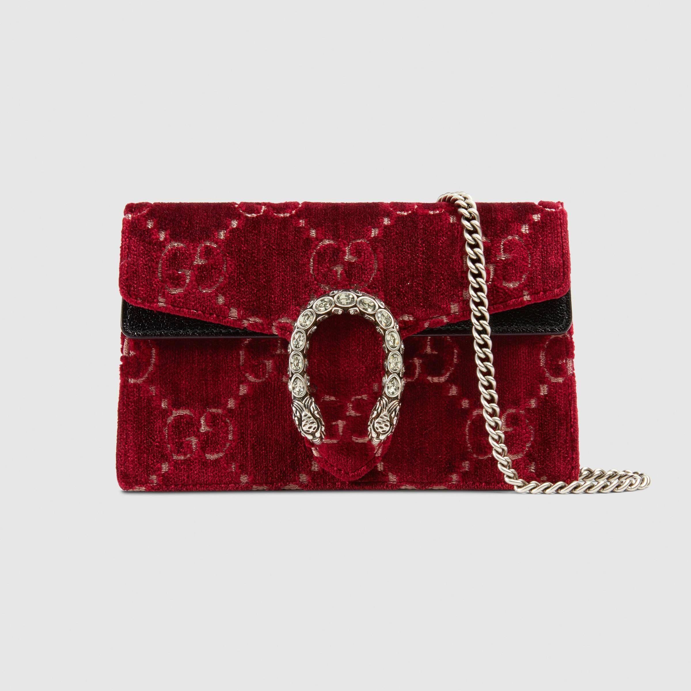 e40d15e5ef22 Dionysus GG velvet super mini bag in Red and beige GG velvet with black patent  leather trim | Gucci Women's Mini Bags #Guccihandbags