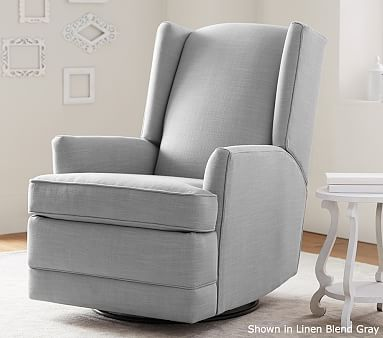 Modern Wingback Rocker Vintage Grainsack Stripe Gray White Driftwood Nursery Recliner
