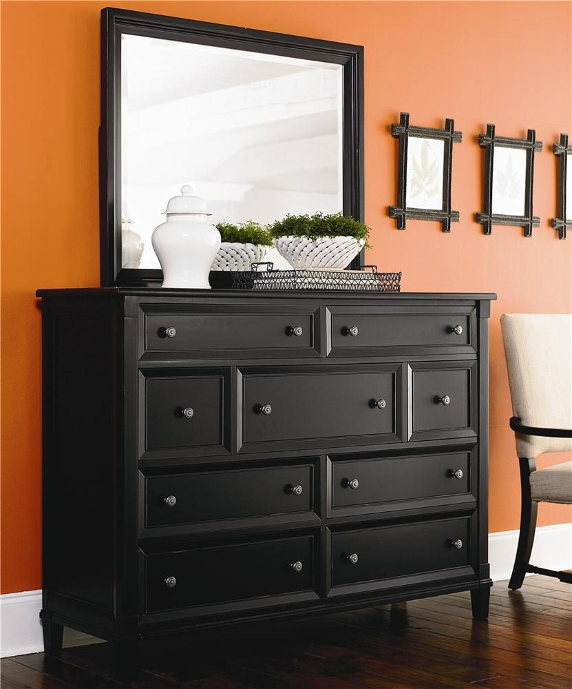 Chatham 9 Drawer Bureau & Lanscape Mirror By Bassett