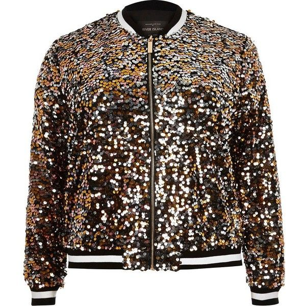 63efe7786ad River Island Plus gold sequin bomber jacket ( 130) ❤ liked on Polyvore  featuring outerwear