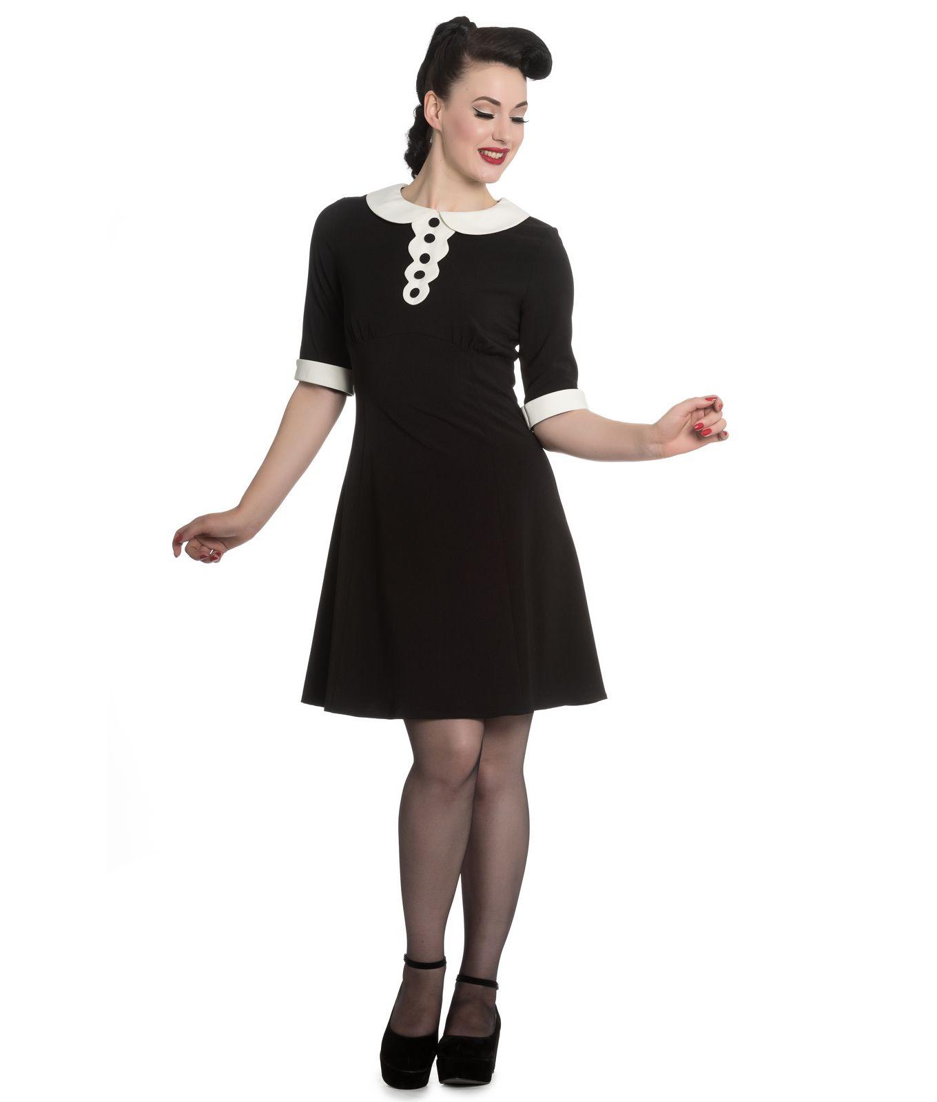 Hell Bunny Magpie Mini Short Dress Black Ivory  d516756298